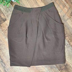 Anthropologie Fei Pencil Skirt Silk/Cotton Pleated
